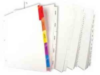 Uncollated Exhibit A-Z Alpha 10th Cut Index Tabs (25 Pack)
