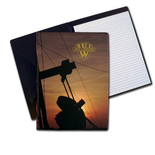 desk folder oil rig notebook